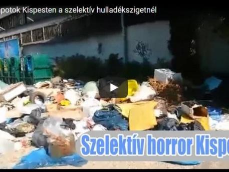 A Puskás Ferenc utcai szelektív gyűjtő környéke (kép a Hulladékvadász videójából)